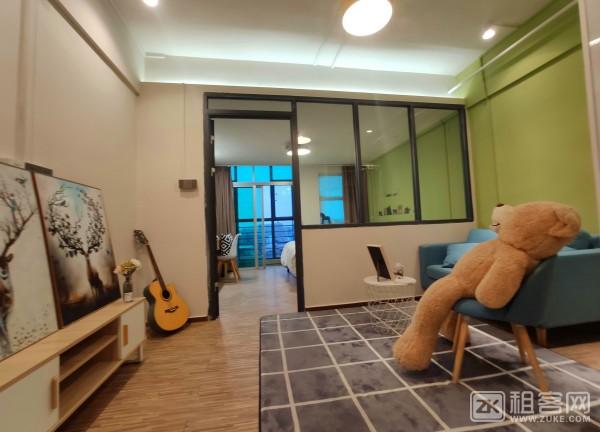 整租 精装连锁品牌公寓一房一厅带阳台 可做饭可养宠物 押一付一可免一个月租金-1