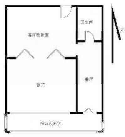 整租 精装连锁品牌公寓一房一厅带阳台 可做饭可养宠物 押一付一可免一个月租金-户型图