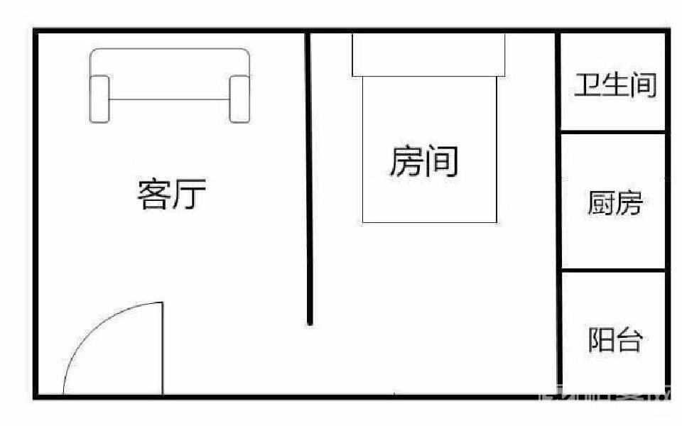 整租 11号线福永地铁站 精装公寓 家私家电齐全拎包入住-户型图